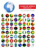 Drapeaux brillants ronds d'ensemble complet de l'Afrique Photos stock