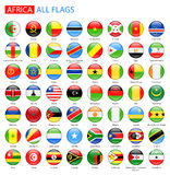 Drapeaux brillants ronds de l'Afrique - pleine collection de vecteur Image libre de droits