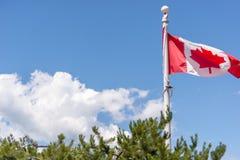 Drapeaux canadiens partout et les gens appréciant les environs à l'endroit du Canada, port de Vancouver le jour du Canada image libre de droits