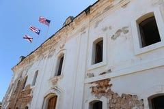 Drapeaux chez Castillo San Cristobal Images libres de droits