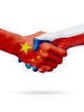 Drapeaux Chine, pays de République Tchèque, concept de poignée de main d'amitié d'association illustration 3D Photographie stock libre de droits