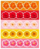 Drapeaux colorés avec des fleurs Photos stock