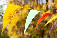Drapeaux colorés l'automne de nature Images stock