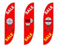 Drapeaux convexes de plume en vente de partie de BBQ illustration stock