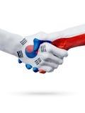 Drapeaux Corée du Sud, pays de République Tchèque, concept de poignée de main d'amitié d'association Images stock
