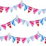 Drapeaux d'étamine d'aquarelle Célébration de Jour de la Déclaration d'Indépendance américain illustration libre de droits