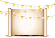 Drapeaux d'étamine de thanksgiving lumière de vacances de guirlande de décorations colorée par ampoules de fond allumée Photos stock