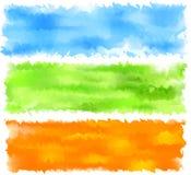Drapeaux d'abrégé sur aquarelle de source. Images stock
