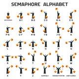 Drapeaux d'alphabet de sémaphore sur un fond blanc Images libres de droits