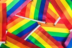 Drapeaux d'arc-en-ciel de LGBT Photos libres de droits
