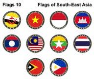 Drapeaux d'Asie du Sud-Est Drapeaux 10 illustration de vecteur