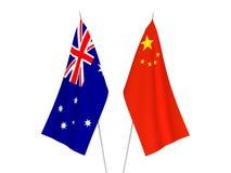 Drapeaux d'Australie et de la Chine illustration de vecteur