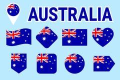 Drapeaux d'Australie réglés Collection australienne de vecteur de drapeau national Icônes d'isolement par appartement avec le nom illustration de vecteur