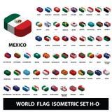 Drapeaux d'ensemble isométrique de drapeaux de collection de pays du monde H-O illustration de vecteur