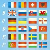 Drapeaux 2016 d'icônes du football de Frances des pays participants Photos libres de droits