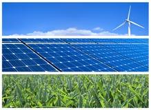 Drapeaux d'énergie renouvelable Photographie stock libre de droits