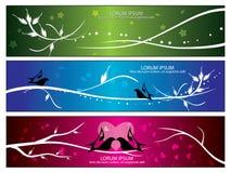 Drapeaux d'oiseau et de flore de vecteur Image libre de droits