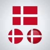 Drapeaux danois de trio, illustration illustration libre de droits