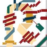 Drapeaux de bandes. Lettre de R. Photo stock