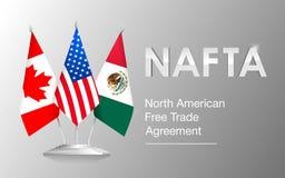 Drapeaux de Canada de pays de l'ALENA, des Etats-Unis et du Mexique illustration stock