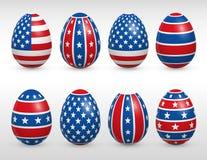 Drapeaux de couleurs des Etats-Unis d'oeufs de pâques réglés Photo stock