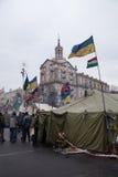 Drapeaux de différents pays sur Euromaidan, Kiev Photo stock