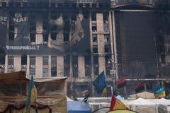 Drapeaux de différents pays sur Euromaidan, Kiev Image libre de droits