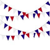 Drapeaux de fête d'étamine lumière de vacances de guirlande de décorations colorée par ampoules de fond allumée Illustration de v illustration stock