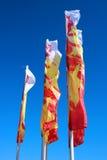 Drapeaux de fête multicolores pendant des vacances Photographie stock