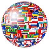 Drapeaux de globe du monde photographie stock