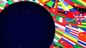 Drapeaux de globe et du monde illustration de vecteur