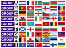 Drapeaux de groupe européen du football Photos stock