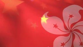 Drapeaux de Hong Kong et de la Chine banque de vidéos