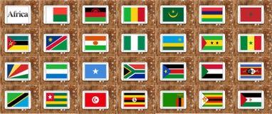 Drapeaux de l'Afrique dans la partie d'ordre alphabétique Photos libres de droits