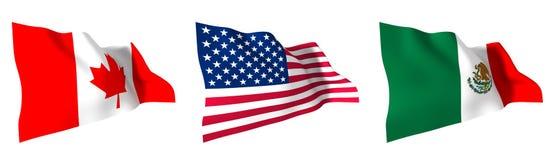 Drapeaux de l'Amérique du Nord Photographie stock libre de droits