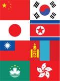 Drapeaux de l'Asie de l'Est Photos libres de droits