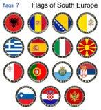 Drapeaux de l'Europe du sud Drapeaux 7 illustration stock