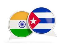 Drapeaux de l'Inde et du Cuba ? l'int?rieur des bulles de causerie illustration de vecteur