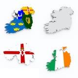 Drapeaux de l'Irlande sur la carte 3d Image stock