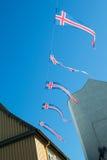 Drapeaux de l'Islande accrochant sur un fil Photographie stock libre de droits
