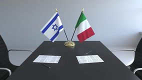 Drapeaux de l'Israël et de l'Italie et papiers sur la table Négociations et signature d'un accord international 3D conceptuel illustration de vecteur