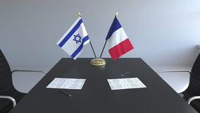 Drapeaux de l'Israël et de la France et papiers sur la table Négociations et signature d'un accord international 3D conceptuel illustration de vecteur
