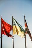 Drapeaux de l'Ukraine, de la Turquie et du Royaume-Uni - Strasbourg Photos libres de droits