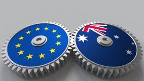 Drapeaux de l'Union européenne et de l'Australie sur les vitesses de maillage Rendu 3D conceptuel de coopération internationale illustration stock