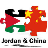Drapeaux de la Chine et de la Jordanie dans le puzzle Images stock