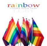 Drapeaux de la communauté de LGBT d'isolement sur un blanc Photographie stock libre de droits
