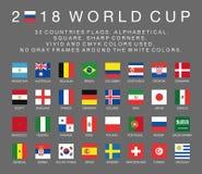 Drapeaux de la coupe du monde de Fifa 2018 de 32 pays Photo libre de droits