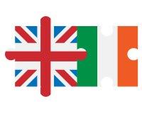 Drapeaux de la Grande-Bretagne et de l'Irlande sous la forme de puzzle Photos stock