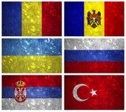 Drapeaux de la partie de l'Europe de l'Est Photos libres de droits
