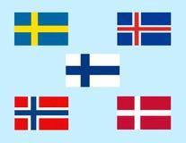 Drapeaux de la Scandinavie, ?tats du nord scandinaves, ic?nes de banni?res de pays nordiques illustration de vecteur